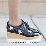 STAR GIRL Black Patent Leather Platform Oxford at FLYJANE | Star Patent Leather Platform Brogues Oxfords | Elyse Platforms|  Black Stella McCartney | Shelly London