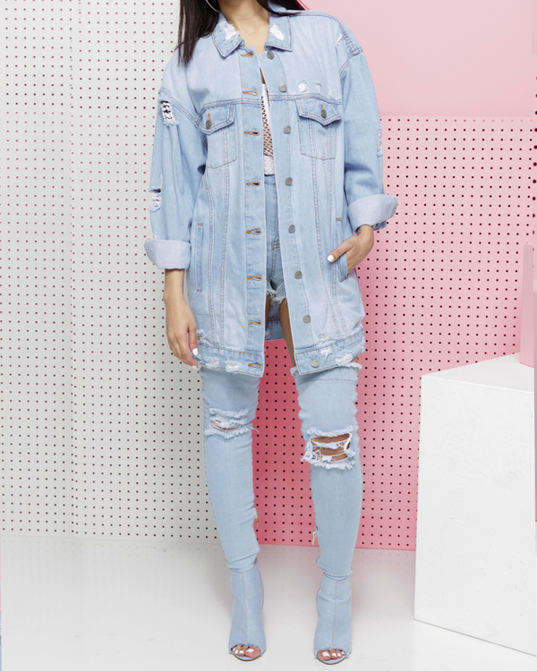 LONG LINES DENIM JACKET in Light Wash at FLYJANE | Light Wash Distressed Denim Jean Jacket | Classic Denim Jackets available NOW at ShopFlyJane.com