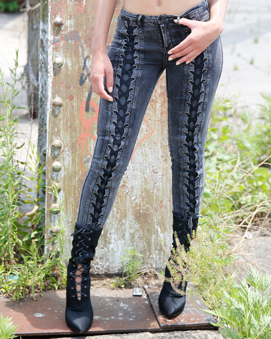 NONA Acid Wash Lace Up Stretch Jeans at FLYJANE | Black Lace Up Jeans | Lace Up Pants | Leather Pants FLYJANE | Follow us on Instagram at @FlyJane