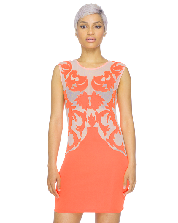 OASIS Baroque Bodyconl Dress in Neon Orange at FLYJANE