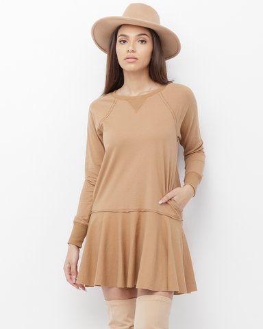 MELLA Sweatshirt Tunic Dress in Tan at FLYJANE | Cute Tan Sweatshirt Dress with Pockets | Cute Spring Dresses under $60 | Street Fashion | Contemporary Style