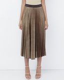 FLYJANE GILLIE Pleated Metallic Maxi Skirt in Bronze | Metallic Pleated Skirt | Bronze Accordion Skirt | Street Style Fashion Pleated Skirt | Paris | London