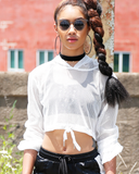 A TOTAL MESH Crop Hoodie in White at FLYJANE | White Mesh Crop Top | Off White Mesh Hoodie | Track Pants and Hoodies Streetstyle | Cute White Mesh Crop Top