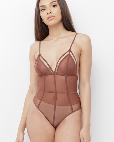 BAWNY Mesh Sheer Bodysuit in Tan Brown at FLYJANE | Tan Mesh Lined Bodysuit | Cute Shell Mesh Bodysuits look great with Slacks, Jeans and everything!