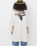 HAVANA Off White Oversized Embroidered Kimono at FLYJANE | Embroidered Gucci Inspired Kimono | Oversized Kimono in Off White | Off White Embroidered Jacket