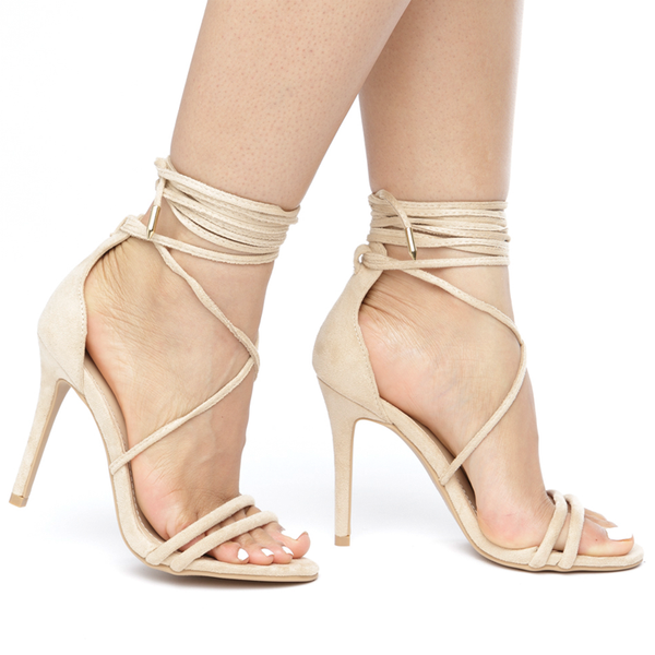 AMBERLY Lace Up Strappy Heel in Nude Suede at FLYJANE | Nude Suede Sandals | Kim Kardashian Sandals | Nude Heels under $50 | Party Heels