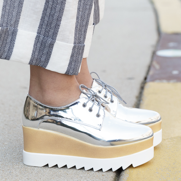 ELSA Silver Metallic Leather Platform Oxford at FLYJANE | Metallic Leather Platform Brogues Oxfords | Elyse Platforms| Elyse Stella McCartney | Shelly London