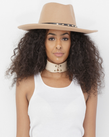 THELMA Wool Wide Brim Fedora Hat in Nude at FLYJANE | Nude Fedora Hat | Wide Brim Flat Brim Fedora Hat | Nude Hats | Cool Fedoras for Spring Fashion Street Style