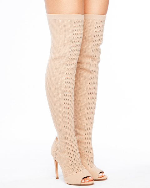 ENIRO KNIT THIGH HIGH BOOT - NUDE