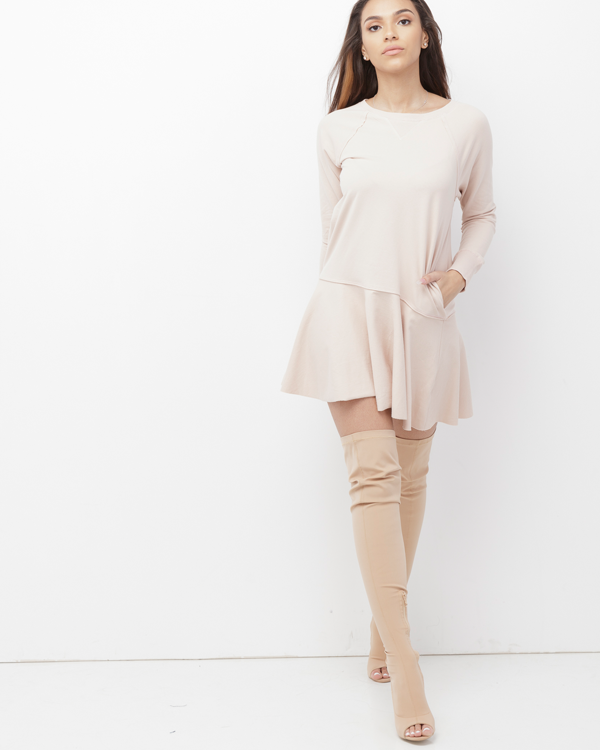 MELLA KNIT TUNIC DRESS - NUDE BLUSH
