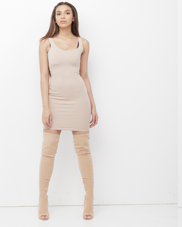 BRANDEE Nude Bodycon Dress at FLYJANE | Nude Bodycon Dresses | Maxi Dresses | Tank Dresses | Follow us on Instagram at @FlyJane