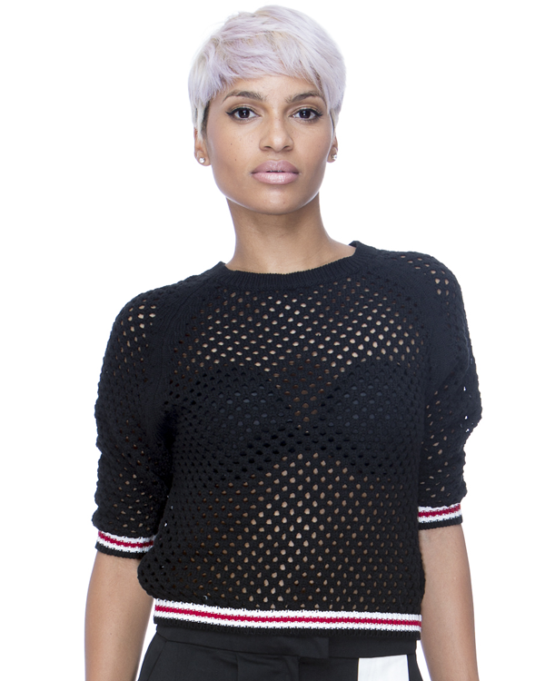 NO BOYS CLUB Netted Sweater in Black at FLYJANE