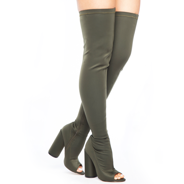 SHAYLA Stretch Lycra Peep Toe Thigh High Boots in Olive Green at FLYJANE | Olive Thigh High Boots | Yeezy Season Thigh High Boots | Kim Kardashian Thigh High Bo...