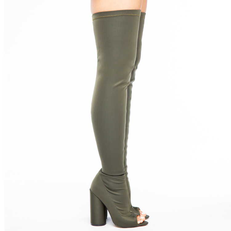 SHAYLA Stretch Lycra Peep Toe Thigh High Boots in Olive Green at FLYJANE | Black Thigh High Boots | Yeezy Season Thigh High Boots | Kim Kardashian Thigh High Bo...