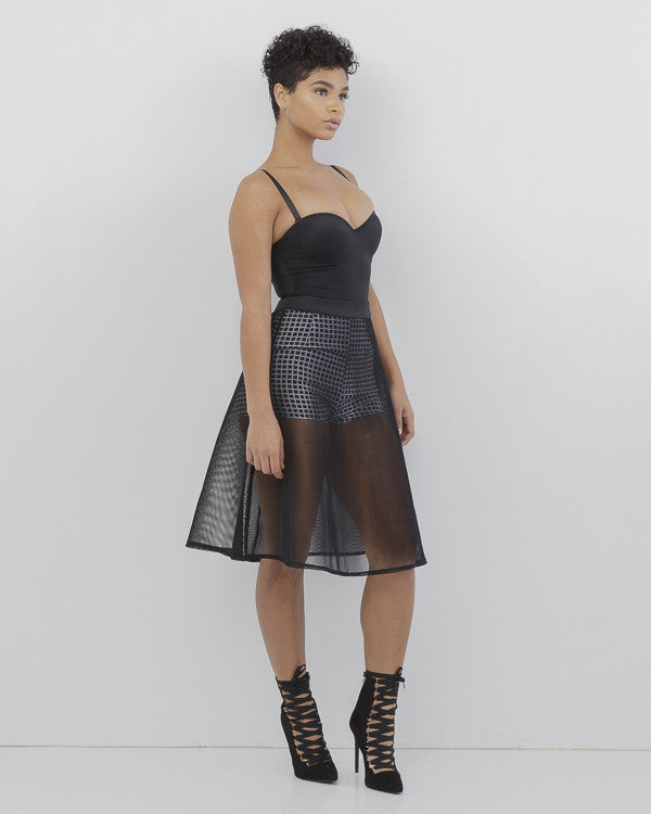 ANOURA Black Mesh Flare Skirt at FLYJANE | Black Mesh Flare Skirt | Mesh Skirt with Checkered Shorts | Fall Fashion at FLYJANE | Follow us on Instagram @FlyJane