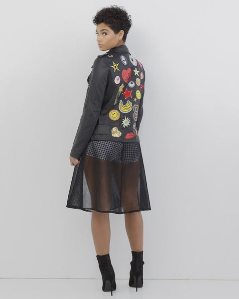 PATCH THAT! Cute Vegan Leather Moto Jacket with Patches at FLYJANE | Black Motocycle Jacket with Sequin Patches | Bloomingdales | NastyGal Invasion of the Body...