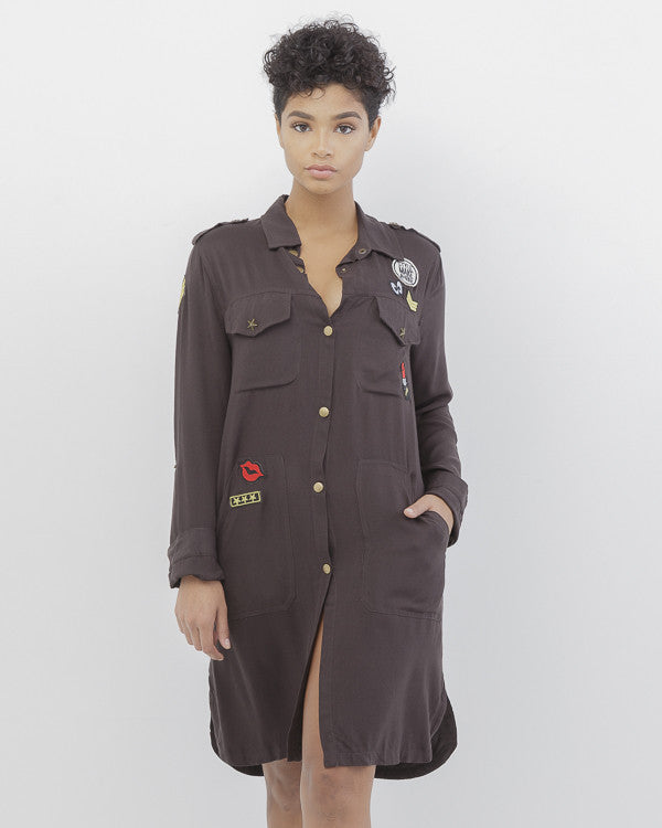 PATCH PLEASE Patched Maxi Shirt Dress in Black at FLYJANE | Cute Military-Inspired Shirt Dress with Pockets and Patches in Black | Cute Work Clothes