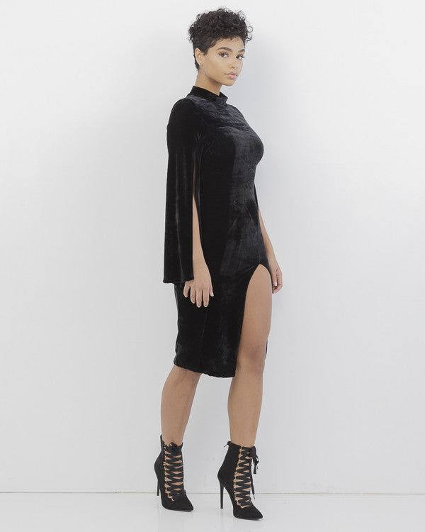 VIVIENNE VELVET SLIT DRESS - BLACK