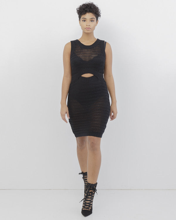 SWEAT HER Crochet Cut Out Dress in Black at FLYJANE | Sweat Her Crochet Cut Out Midi Dress | Black Midi Dress | Little Black Dress | BLACK SWEATER DRESS