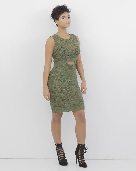 SWEAT HER Crochet Dress in Olive at FLYJANE | Sweat Her Crochet Dress | Olive Dress Sweater Dress | Olive Summer Dress | Dope Dresses from FLYJANE