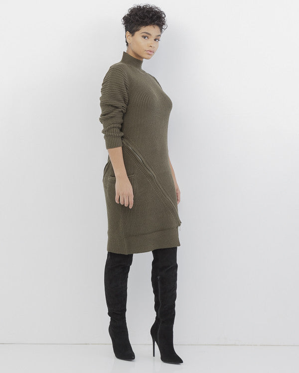 ZIP SERVICE Zippered Sweater Dress in Olive Green at FLYJANE | Olive Ribbed Zippered Sweater Dress | Kylie Jenner Sweater Dress | Follow us Instagram at @FlyJane