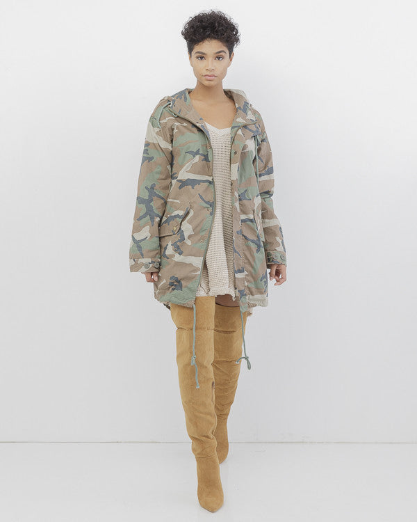 FEMME FATALE Army Green Oversized Camo Anorak Jacket at FLYJANE | Oversized Military Jacket | Army Green Camouflage Jacket | Oversized Girls Camo Anorak Jacket