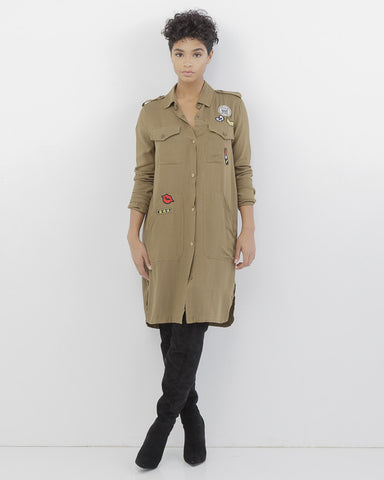 PATCH PLEASE SHIRT DRESS - OLIVE