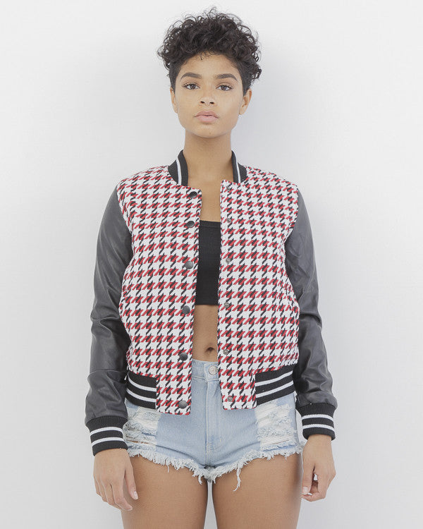 HOUNDS OF HELL YEAH Houndstooth Varsity Bomber Jacket at FLYJANE | Houndstooth Jacket | Bomber Jacket | Black Red and White Bomber Jacket | Varsity Jacket