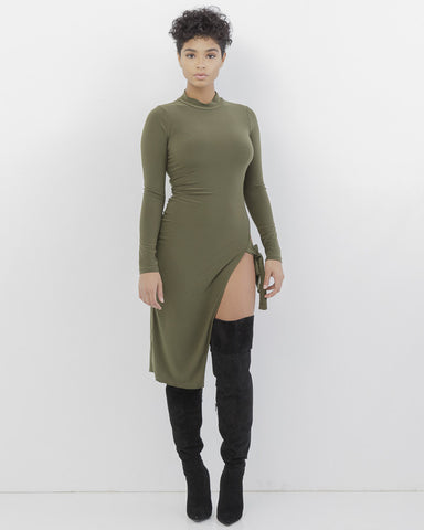 ALL THE WAY UP Olive Green Mock Neck Slit Dress at FLYJANE | Sexy Club Dresses for Fall | Mock Neck Midi Dress | Olive Green Dress | Olive Green Slit Dress