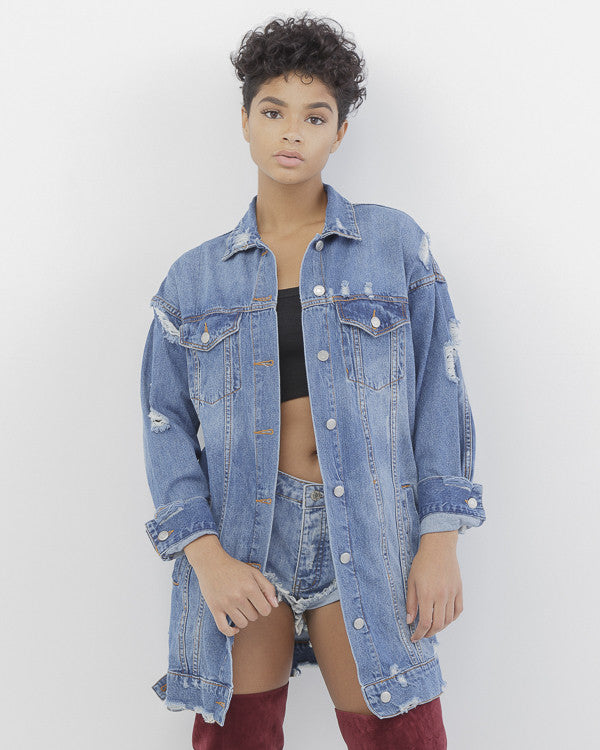LARS Distressed Long Denim Jacket at FLYJANE | Long Denim Jacket | Karrueche Denim Jacket | Zara Denim Jacket | FashionBombDaily | Follow us on Instagram at @FlyJane