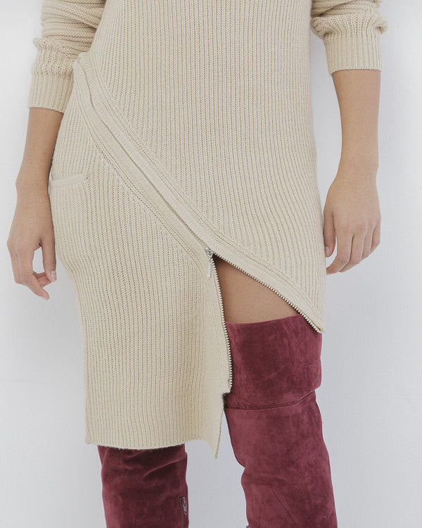 ZIP SERVICE Zippered Sweater Dress in Nude at FLYJANE | Nude Beige Ribbed Zippered Sweater Dress | Kylie Jenner Sweater Dress | Follow us Instagram at @FlyJane