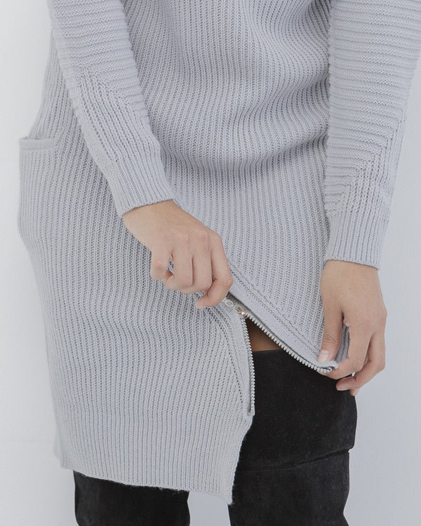 ZIP SERVICE Zippered Ribbed Knit Sweater Dress in Grey at FLYJANE | Grey Ribbed Zippered Sweater Dress | Kylie Jenner Sweater Dress | Follow us Instagram at @FlyJane