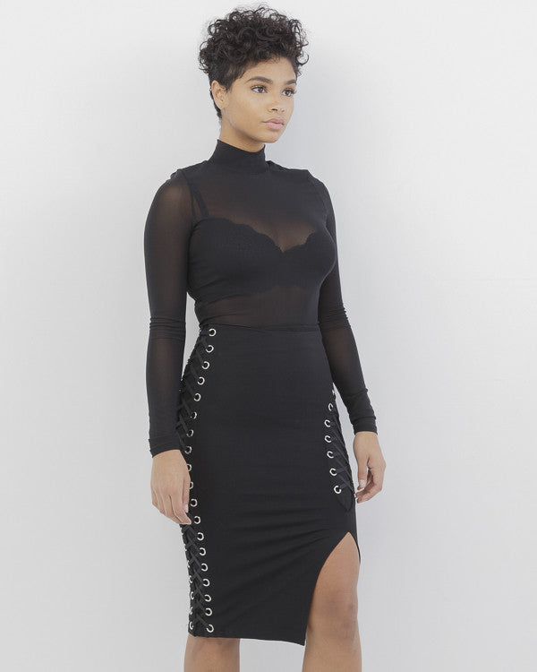 DOUBLE CROSSER Lace Up Slit Midi Skirt in Black at FLYJANE | Black Midi Skirt | Black Lace Up Skirt | Fall Fashion at FLYJANE |