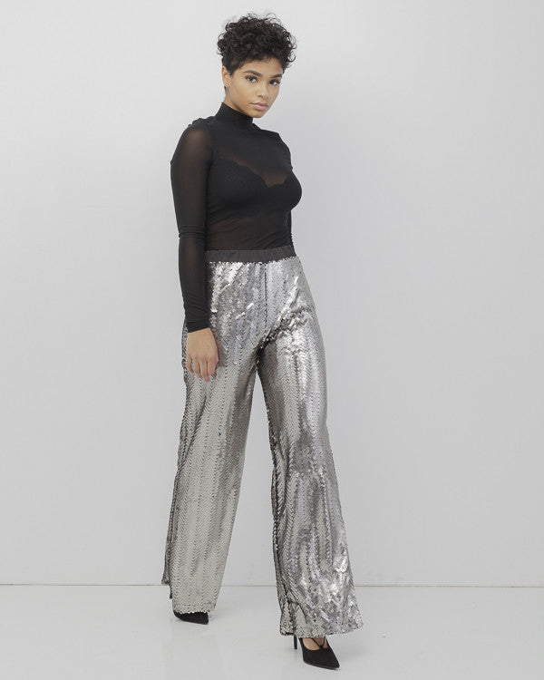 BOOGIE NIGHTS Silver Sequin Palazzo Pants at FLYJANE