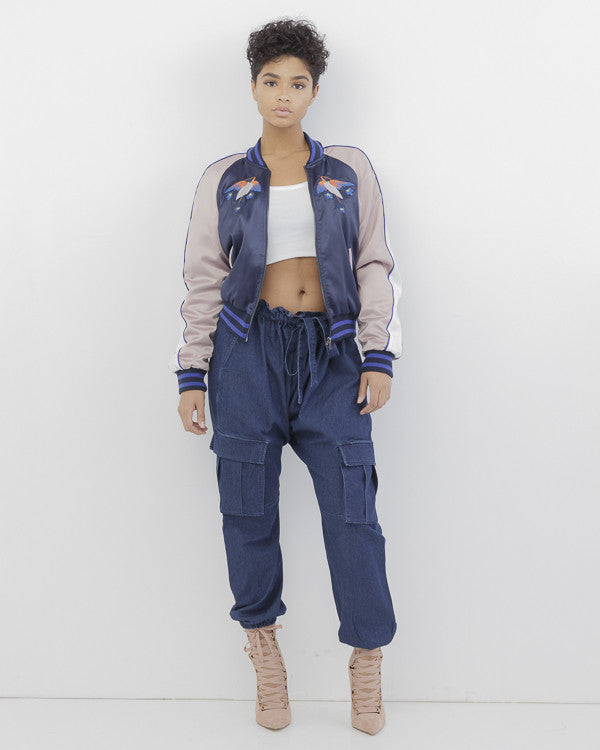 YES LOVE Navy and Pink Embroidered Satin Bomber Jacket at FLYJANE | Satin Bomber Jacket | Embroidered Bomber Jacket | Satin Jacket | Colorful Jackets for Fall
