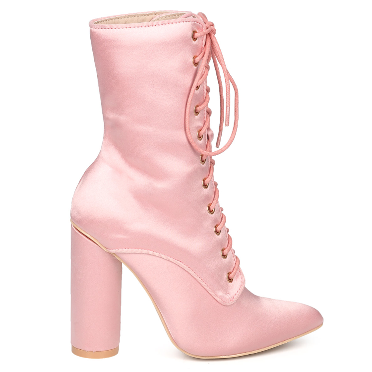 TALLULAH LACE UP SATIN BOOTIE