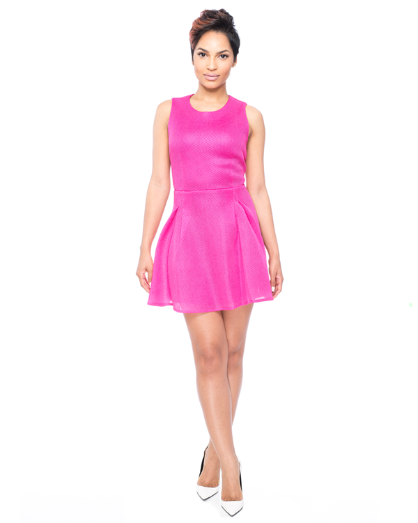 PINK IT THROUGH Neoprene Flare Dress at FLYJANE
