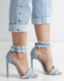PAULA Frayed Denim Stilletto Sandals by The Loud Factory at FLYJANE | Denim Open Toe Sandals | Denim Stiletto Heels | Paula Designer Frayed Denim Heels