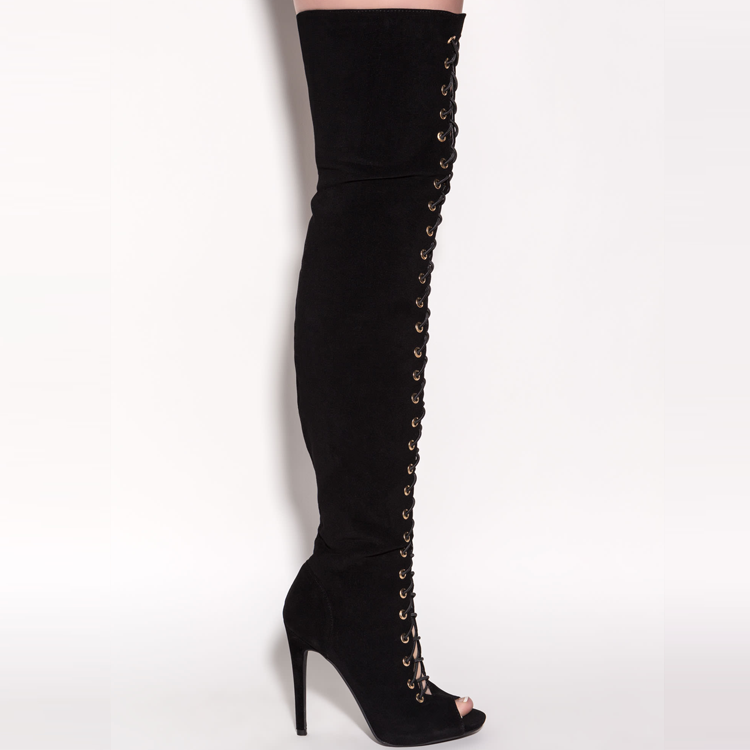 PILAR Lace Up Thigh High Boot in Black at FLYJANE | Ziginy PIARRY Lace Up Boot in Black Faux Suede | Tony Bianco Suede Lace Up Thigh High Boot in Black