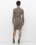 MONA Knit Mock Neck Little Taupe Midi Bodycon Dress at FLYJANE | Taupe Mock Neck Dress | Taupe Stretch Midi Dress | Kim Kardashian Taupe Bodycon Dress |