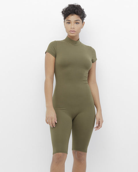 NOW YOU SEE ME Olive Mock Neck Bodycon Romper at FLYJANE | Cute Spring Mock Neck Fitted Romper | Olive Catsuit | Olive Romper | Olive Leggings | Olive One Piece
