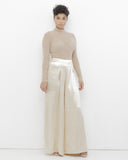 THE DOSSIER Wide Leg Satin Pants in Gold at FLYJANE | Solace London Wide Leg Pants | Gold Wide Leg Trousers | Contemporary Wide Leg Pants by Endless Rose