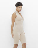 CODY Zippered Bodycon Romper in Nude at FLYJANE | Nude Spandex Zippered Sleeveless Bodycon Romper Jumpsuit in Nude | Nude Romper | Follow us on IG at @FlyJane