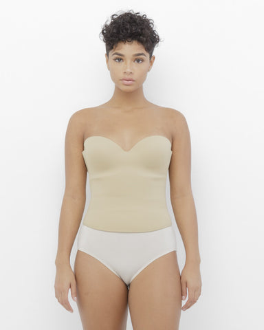 MIYAMI Structured Corset in Nude at FLYJANE | Corset Top in Nude | Nude Corsets | Kim Kardashian Corset | Nude Crop tops | Sexy Nude Corset Bustiers Foundation