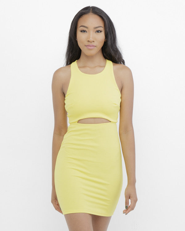 SUNSHINE BABY Cutout Minidress in Yellow at FLYJANE | Yellow Minidress | Cutout Dress | Party Dresses under $50 | Summer Dress | WhereToGetIt