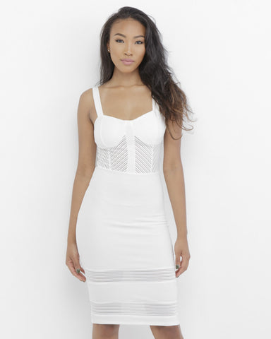 BELIZE Midi Cocktail Dress in White at FLYJANE | White Dress with Sheer Panels | White Midi Dress | Little White Dress | Follow us at @FlyJane on Instagram
