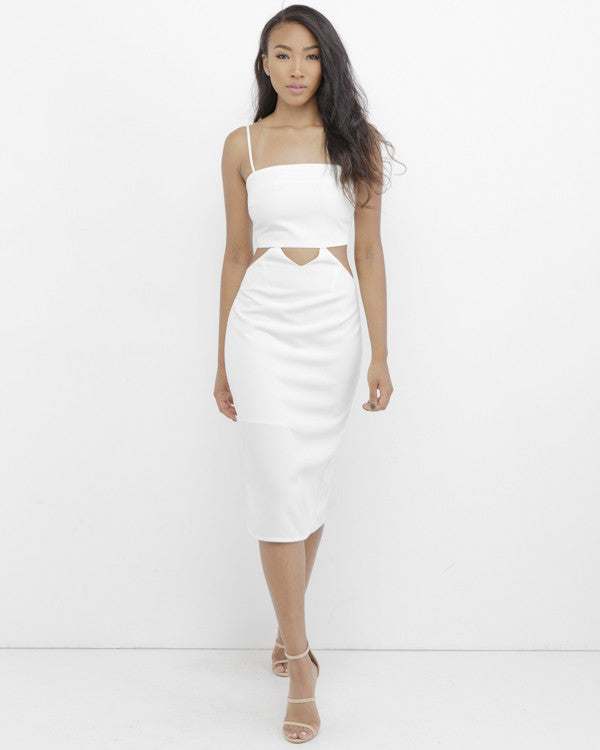 VIVIENNE  Cutout Midi Dress in White at FLYJANE | Midi Dresses | Cutout Dresses | Little White Dress | Summer Dresses at FLYJANE | Mona Cutout Dress |