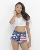 STARS AND STRIPES Dark Denim USA Flag Cutoff Shorts at FLYJANE | Flag Shorts | 4th of July | Patriotic Shorts | USA Shorts | Denim Cutoffs | Frayed Shorts