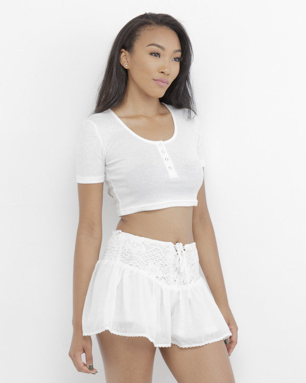BASIC INSTINCT White Snap Button Front Short Sleeve Crop Top at FLYJANE | White Crop Top | Basic White Crop Top | Cute Summer Clothes for Juniors at FLYJANE