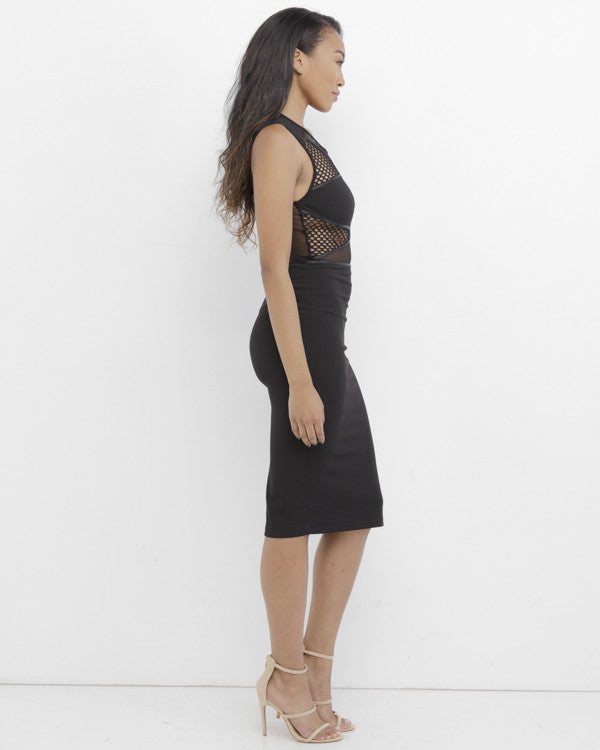 ELECTRIC LADY Sheer Black Midi Bodycon Dress at FLYJANE | Party Dresses under $100 | Cocktail Dress | Black Bodycon Dress | Midi Dress | Rehab Dresses